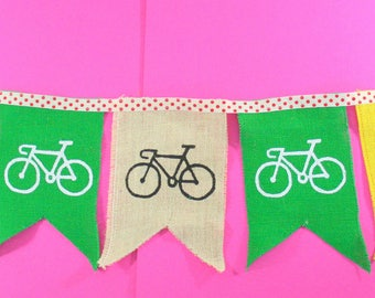 Cycle Tour Of Britain Bunting handprinted on hessian
