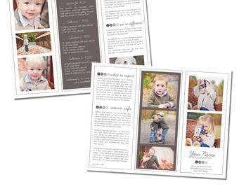 INSTANT DOWNLOAD, Sell Sheet, Collections or Packages Pricing Template, Trifold Photo Pamphlet, 8.5 x 11 size, Newborns, Seniors, Families