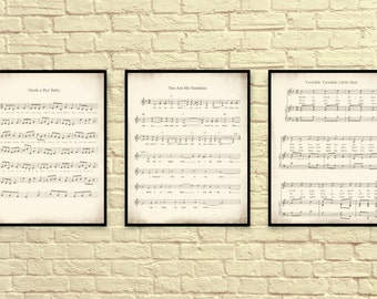 Sheet Music Art, Lullaby Sheet Music, Sheet Music Prints, You are My Sunshine, Twinkle Twinkle Little Star, Hush a Bye Baby.