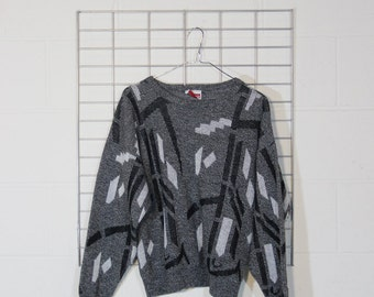 80s small wild soft geometric sweater