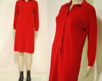 70s Vintage Red Dress Wool Button Up Mid Length Retro Long sleeve Knitted Vtg 1970s M-L