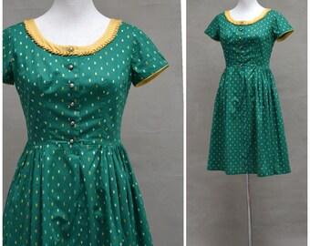 Vintage Dirndl dress, Traditional German National dress, Green folk costume, Alpine peasant dress, Bavarian costume, Tyrolean, folk costume