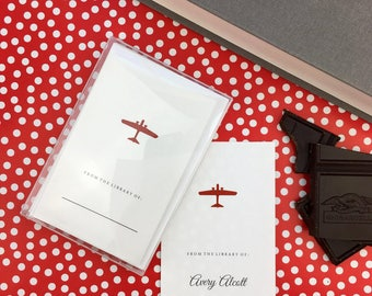 Children's Bookplate Stickers, Gift for Kids, Personalized Children's book labels, School Supplies, Boxed Set of 8, Red Airplane