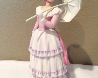 Beautiful Vintage Victorian Woman Figurine Holding Umbrella  #1431  Marked Homco