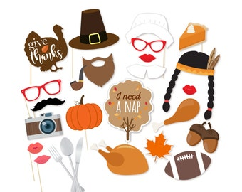 Printable Thanksgiving Photo Booth Props - Instant Download Thanksgiving Photobooth Props - Turkey Props - Pilgrim Props - Fall Photo Booth