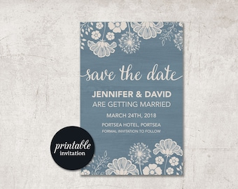 Save the Date Card Dusty Blue Save the Date, Printable Save the Date Card, Rustic Save the date, Modern Save the date, Digital file