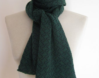 Handmade forest green cashmere scarf with navy pattern detail /knitted cashmere scarf/ womans scarf/ mans scarf