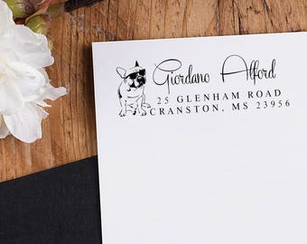 French bulldog Return Address Stamp - Custom Dog Breed Rubber Stamp - Personalized Pet Address - Or Pre-inked Stamp Self inking stamp RE901
