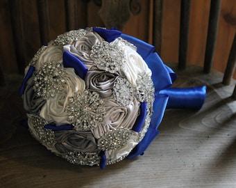 Royal Blue Brooch Bouquet, Silver & Grey Brooch Bouquet, Royal Blue Wedding Bouquet, Royal Blue Bridal Bouquet
