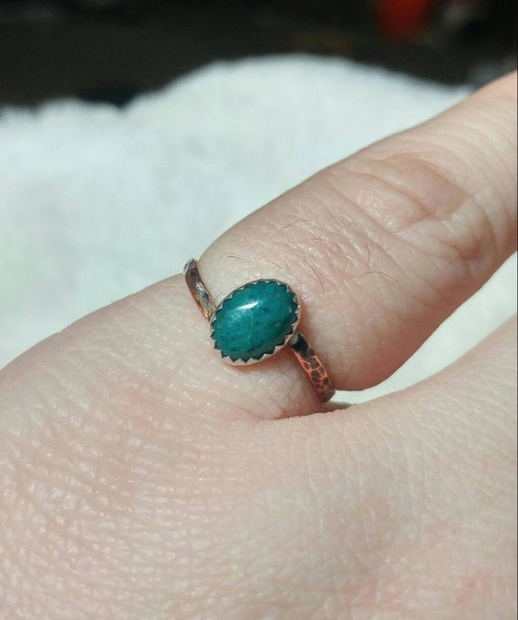 Copper Stone Ring | Chrysocolla Ring | Mixed Metal Ring | Sterling Silver Ring Sz 6.5 | Oval Stone | Natural Chrysocolla Ring | Rustic Ring
