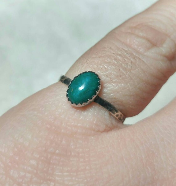 Simple Green Ring | Chrysocolla Ring | Sterling Silver Ring Sz 7 | Blue Green Gemstone Ring | Chrysocolla Jewelry | Handmade Gift for Her