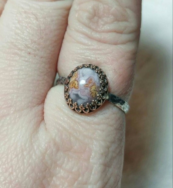 Mixed Metal Ring | Calico Lace Agate Ring | Sterling Silver Ring Sz 10 | Purple Ring | Purple Agate | Mixed Metal Jewelry | Plume Agate
