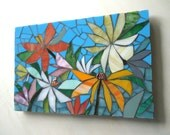 8x12 MOSAIC FLORAL TILE - hand made- stained glass mosaic mini panel decorative mosaic wall mural art