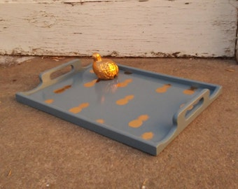 Gilded Pineapple Serving Tray - Blue & Gold Decoupaged Serving Tray