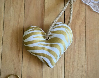 Gold Zebra Print Heart Dog Toy with Squeaker, Stuffed Dog Toy, Pet Toy, Cute Dog Toy, Colorful Dog Toy