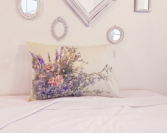 roses and lavenders pillowcase, cushions, pillow,decorations flowers, pillow covers, home decor bedding