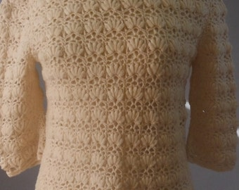 British Vogue, Hand Knit in Italy, Vintage 50's - 60's Wool Sweater, Light Yellow