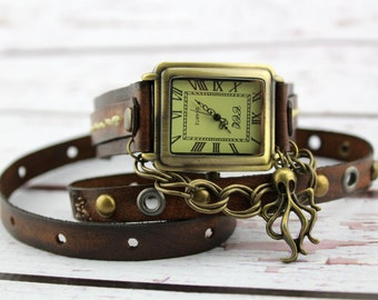Brown Watch with Octopus Charm, Steampunk Watch for Women, Rectangular Watch, Brown Wrap Watch, Leather Gift