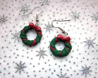Christmas Wreath Earrings, Festive Earrings, Christmas Jewelry, Polymer Clay Earrings, Xmas Jewellery, Colourful Christmas  Wreath