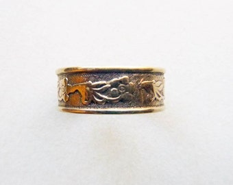 Antique Victorian rosy yellow gold cigar band floral engraved eternity ring size 7