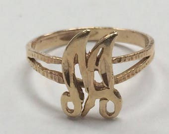"VINTAGE 14K Yellow Gold ""M"" Initial RING Size 5.25"