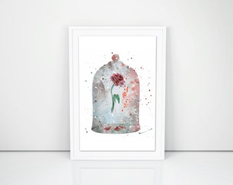 Fairytale Rose Art Print Beauty and the Beast Enchanted Romantic Valentines Gift