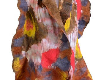 Autumn nuno felt scarf or shawl in brown tones - large fall scarf made of merino wool & silk - lightweight felted shawl for fall [S119]