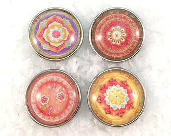 Mandalas Soft Colors  Snap Charm Snap Jewelry Popper Snap Noosa Style Interchangeable Chunk Snap Ginger Snap Jewellery. Price for 1 snap.