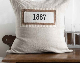 Pre-Order Farmhouse 1887-Vintage-Layered-Tan, Rust, Tan Ticking,-18 x 18 inch -pillow cover