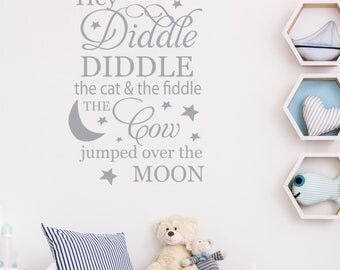 Hey diddle diddle the cat and the fiddle - Wall Sticker - Wall Sticker - wall quotes - home decor - Wall decals - Quotes - Nutmeg Wall Art