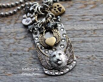 Siberian Husky Angel Necklace, Husky Memorial Jewelry, Alaskan Malamute Necklace, Wolf Dog Jewelry