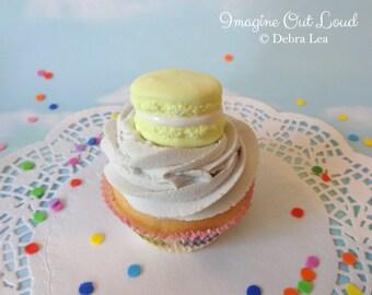 Fake Cupcake Handmade Lemon Yellow Macaron Decor Fake Food Kitchen Display