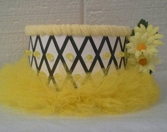 Yellow and Black One Tier Tutu Diaper Cake Bumble Bee Themed Baby Shower Decor Creative Table Centerpiece Baby Gift