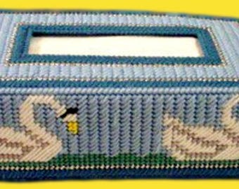 GRACEFUL SWANS Regular Size Tissue Box Cover - Bathroom Decor - Needlepoint on Plastic Canvas - Handmade
