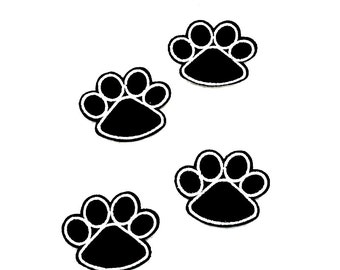 Cute black KITTY cat PAW prints iron on PATCH  rockabilly Gothic punk Pinup