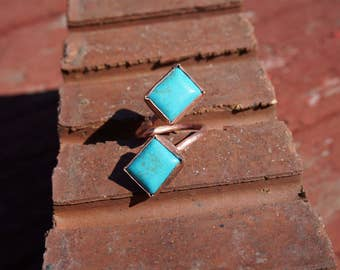Rustic Double Howlite Adjustable Copper Ring