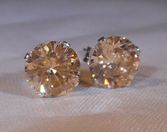 Light Pink Champagne Morganite Stud Earrings|Simulated Man Made Diamonds|Lab Created Stones|7mm Light Champagne Pink Color Jewelry