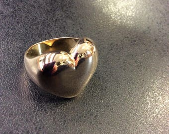 Silver gilt heart ring ,chunky