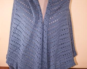 Medium blue crochet shawl