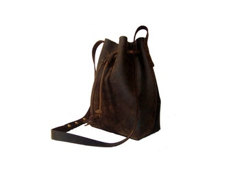 Leather Bucket bag, Crazy Horse Leather bucket bag, Leather shoulder bag, Dark brown bag, Cross body bucket bag, Everyday bag, Bucket bags
