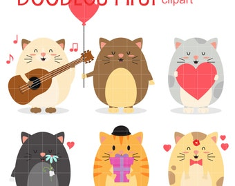 Valentine's Day Chubby Cats Digital Clip Art for Scrapbooking Card Making Cupcake Toppers Paper Crafts