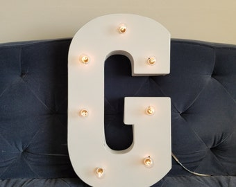 "Metal Marquee Single 21"" Light Up White Letter Lights"