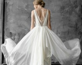Simple silk and lace wedding dress with V-neck and button detail, silk bridal gown // Amalthea
