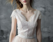 Ivory chantilly lace wedding top separate, V neck bridal top with cup sleeves/ Only one size EU36/ Ready to ship!