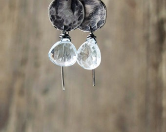 Aquamarine  earrings. Artisan earrings. Handcrafted oxidized sterling silver earrings. Ready to ship