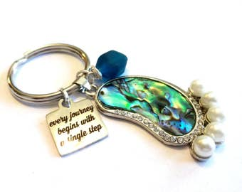 Beach Glass Keychain, Abalone Shell Pendant, Blue Sea Glass Keychain, Every Journey Begins With a Single Step Charm Addiction Recovery Gift