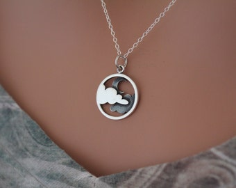 Sterling Silver Moon and Cloud Pendant Necklace, Cloudy Night Sky Charm Necklace, Crescent Moon Pendant Necklace, Moon and Cloud Necklace