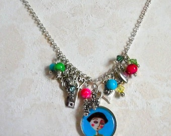 Art Pendant Necklace with beads and charms