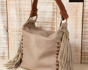 Fringe leather purse, leather hobo bag, Gray leather bag, leather slouchy bag, taupe purse, soft leather purse, leather fringes bag, bucket