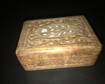 Hand Carved Sheesham Wood Trinket Stash Box